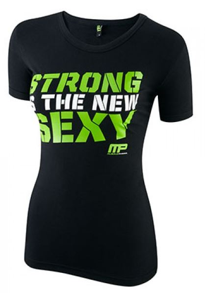 MusclePharm Strong is the new Sexy T-Shirt, Schwarz/Grün
