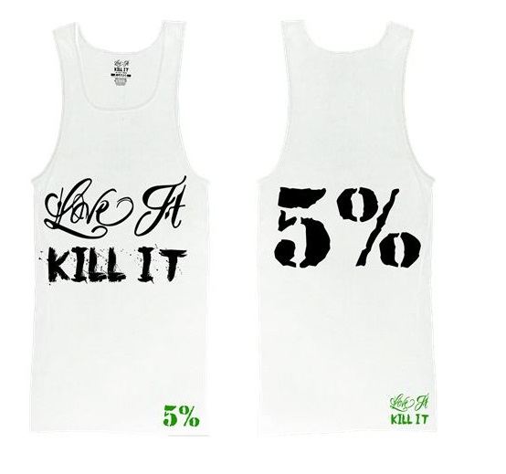 Rich Piana Love It Kill It 5% Ribbed Tank Top, White Black XL