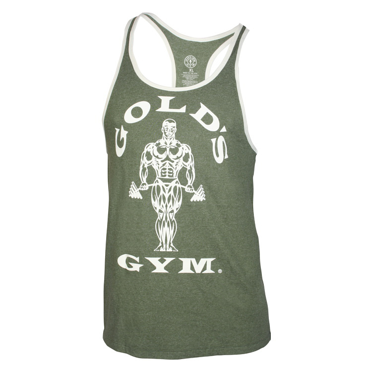 Golds Gym Muscle Joe Contrast Stringer Tank Top, Army/Cream