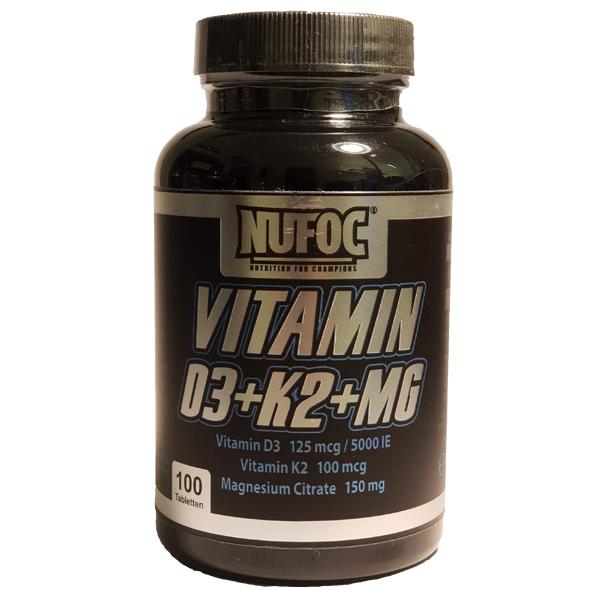 Nufoc Vitamin D3+K2+MG, 100 Tabl.