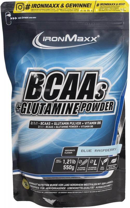 IronMaxx BCAAs + Glutamine Powder, 550g Blue Raspberry